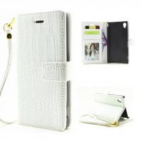 Глянцевый чехол портмоне подставка текстура Крокодил на пластиковой основе на магнитной защелке для Sony Xperia XA Белый