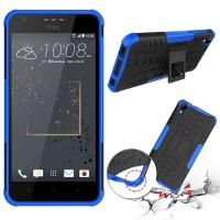Противоударный двухкомпонентный силиконовый матовый непрозрачный чехол с поликарбонатными вставками экстрим защиты с встроенной ножкой-подставкой для HTC Desire 825  Синий