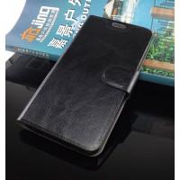 Глянцевый чехол горизонтальная книжка подставка на силиконовой основе с отсеком для карт на магнитной защелке для ZTE Blade X3 Черный