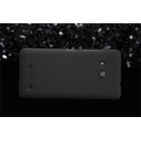 Пластиковый непрозрачный матовый нескользящий премиум чехол для Microsoft Lumia 550  Черный