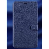 Текстурный чехол горизонтальная книжка подставка на пластиковой основе с отсеком для карт на магнитной защелке для Microsoft Lumia 640 XL Синий