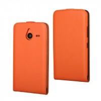 Чехол вертикальная книжка на пластиковой основе на магнитной защелке для Microsoft Lumia 640 XL  Оранжевый