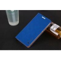 Вощеный чехол горизонтальная книжка подставка на пластиковой основе на присосках для Microsoft Lumia 640 XL  Синий