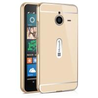 Двухкомпонентный чехол c металлическим бампером с поликарбонатной накладкой для Microsoft Lumia 640 XL  Бежевый