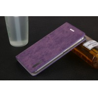 Винтажный чехол горизонтальная книжка подставка на пластиковой основе с отсеком для карт на присосках для Lenovo S60 Фиолетовый