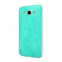 Силиконовый матовый непрозрачный чехол с текстурным покрытием Кожа для Samsung Galaxy J5 Голубой