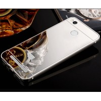 Двухкомпонентный чехол c металлическим бампером с поликарбонатной накладкой и зеркальным покрытием для Xiaomi RedMi 3 Pro/3S Белый