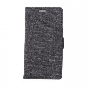 Чехол портмоне подставка на пластиковой основе с тканевым покрытием на магнитной защелке для LG Spirit