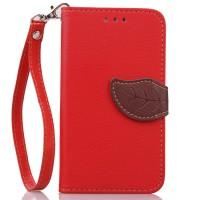 Чехол портмоне подставка на силиконовой основе на дизайнерской магнитной защелке для LG Leon  Красный