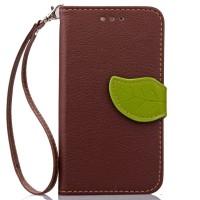 Чехол портмоне подставка на силиконовой основе на дизайнерской магнитной защелке для LG Leon  Коричневый