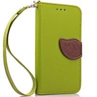 Чехол портмоне подставка на силиконовой основе на дизайнерской магнитной защелке для LG Leon  Зеленый