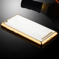 Силиконовый матовый полупрозрачный чехол с текстурным покрытием Металлик для Xiaomi RedMi 3  Бежевый