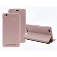 Чехол горизонтальная книжка подставка на пластиковой основе для Xiaomi RedMi 3 Розовый