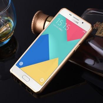 Металлический округлый бампер на пряжке с золотой окантовкой для Samsung Galaxy A5 (2016)