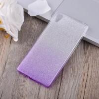 Силиконовый матовый полупрозрачный градиентный чехол для Sony Xperia X  Фиолетовый