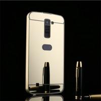 Двухкомпонентный чехол c металлическим бампером с поликарбонатной накладкой и зеркальным покрытием для LG K10