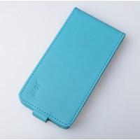 Чехол вертикальная книжка на пластиковой основе на магнитной защелке для LG K10  Голубой