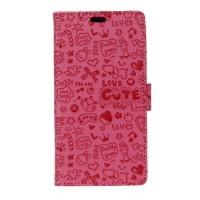 Чехол портмоне подставка текстура Узоры на силиконовой основе на магнитной защелке для Huawei Honor 5A/Y5 II Розовый
