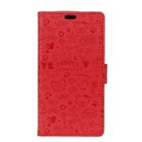 Чехол портмоне подставка текстура Узоры на силиконовой основе на магнитной защелке для Huawei Honor 5A/Y5 II Красный