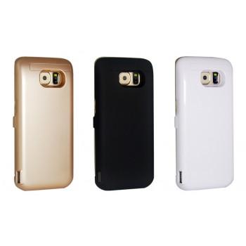 Пластиковый непрозрачный матовый чехол с встроенным аккумулятором 5800 мАч и подставкой для Samsung Galaxy S6 Edge