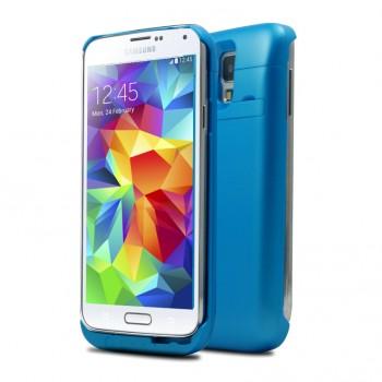 Пластиковый непрозрачный матовый чехол с встроенным аккумулятором 4800 мАч и подставкой для Samsung Galaxy S5 (Duos)
