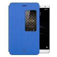 Чехол книжка подставка на непрозрачной силиконовой основе с тканевым покрытием и окном вызова для Huawei MediaPad T2 7.0 Pro  Синий