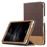 Сегментарный чехол книжка подставка текстура Линии с рамочной защитой экрана для Huawei MediaPad T2 7.0 Pro Коричневый