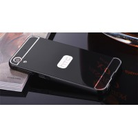Двухкомпонентный чехол c металлическим бампером с поликарбонатной накладкой и зеркальным покрытием для HTC Desire 830  Черный