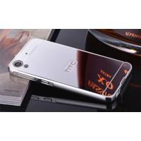 Двухкомпонентный чехол c металлическим бампером с поликарбонатной накладкой и зеркальным покрытием для HTC Desire 830  Белый