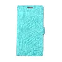 Чехол портмоне подставка текстура Крокодил на силиконовой основе на магнитной защелке для HTC Desire 830 Голубой