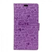 Чехол портмоне подставка текстура Узоры на силиконовой основе на магнитной защелке для HTC Desire 830 Фиолетовый