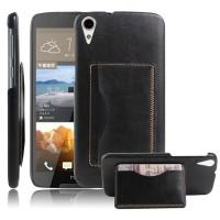Чехол накладка текстурная отделка Кожа с отсеком для карт и функцией подставки для HTC Desire 828  Черный