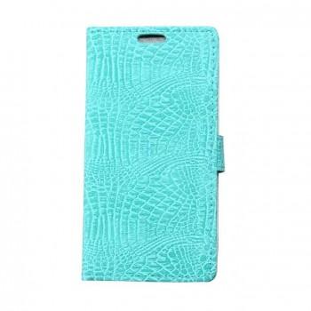 Чехол портмоне подставка текстура Крокодил на силиконовой основе на магнитной защелке для HTC Desire 828