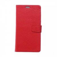 Кожаный чехол портмоне подставка на силиконовой основе на магнитной защелке для HTC Desire 828  Красный