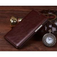 Винтажный чехол горизонтальная книжка на пластиковой основе для HTC Desire 828  Коричневый