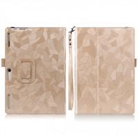 Чехол книжка подставка текстура Узоры с рамочной защитой экрана, крепежом для стилуса и поддержкой кисти для Lenovo Tab 2 A10-30 Бежевый