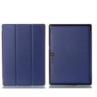 Сегментарный чехол книжка подставка на непрозрачной поликарбонатной основе для Lenovo Tab 2 A10-30  Синий