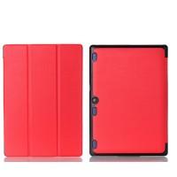 Сегментарный чехол книжка подставка на непрозрачной поликарбонатной основе для Lenovo Tab 2 A10-30  Красный