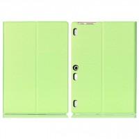 Чехол книжка подставка на непрозрачной поликарбонатной основе текстура Металлик для Lenovo Tab 2 A10-30  Зеленый