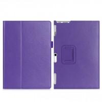 Чехол книжка подставка с рамочной защитой экрана, крепежом для стилуса, отсеком для карт и поддержкой кисти для Lenovo Tab 2 A10-30  Фиолетовый