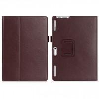 Чехол книжка подставка с рамочной защитой экрана, крепежом для стилуса, отсеком для карт и поддержкой кисти для Lenovo Tab 2 A10-30  Коричневый