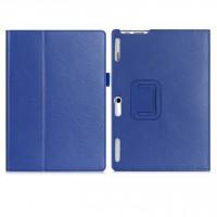 Чехол книжка подставка с рамочной защитой экрана, крепежом для стилуса, отсеком для карт и поддержкой кисти для Lenovo Tab 2 A10-30  Синий