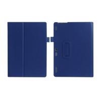 Чехол книжка подставка с рамочной защитой экрана и крепежом для стилуса для Lenovo Tab 2 A10-30  Синий
