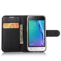 Чехол портмоне подставка на силиконовой основе на магнитной защелке для Samsung Galaxy J1 mini (2016)  Черный