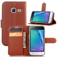 Чехол портмоне подставка на силиконовой основе на магнитной защелке для Samsung Galaxy J1 mini (2016)