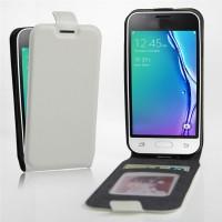Чехол вертикальная книжка на силиконовой основе с отсеком для карт на магнитной защелке для Samsung Galaxy J1 mini (2016)  Белый