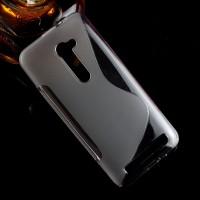 Силиконовый матовый полупрозрачный чехол с дизайнерской текстурой S для Asus Zenfone 2 5  Серый