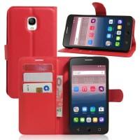 Чехол портмоне подставка на силиконовой основе на магнитной защелке для Alcatel OneTouch Pop Star 3G 5022d Красный