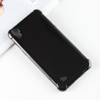Силиконовый глянцевый полупрозрачный чехол с усиленными углами для LG X Power Черный