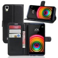 Чехол портмоне подставка на силиконовой основе на магнитной защелке для LG X Power  Черный